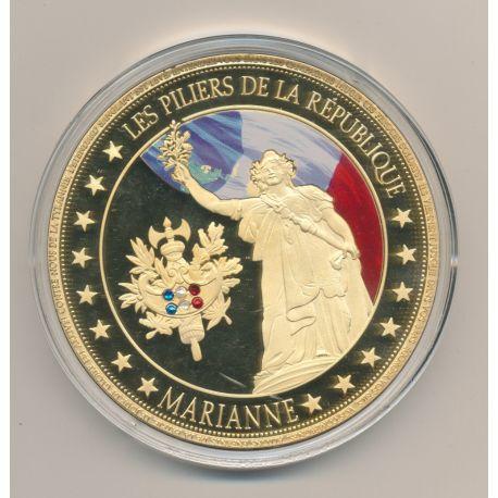 Médaille - Marianne - Les Piliers de la république - couleur et insert swarovski - 70mm