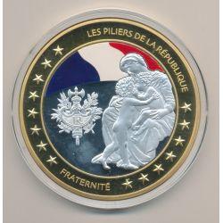 Médaille - Fraternité - Les Piliers de la république - couleur - 70mm
