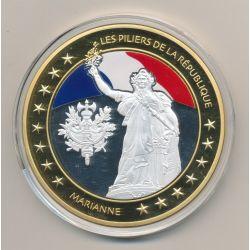 Médaille - Marianne - Les Piliers de la république - couleur - 70mm