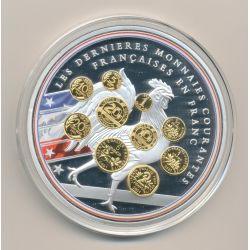 Médaille - Les dernières monnaies courantes N°1 - Adieu au Franc - 70mm