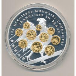 Médaille - Les dernières monnaies courantes N°2 - Adieu au Franc - 70mm