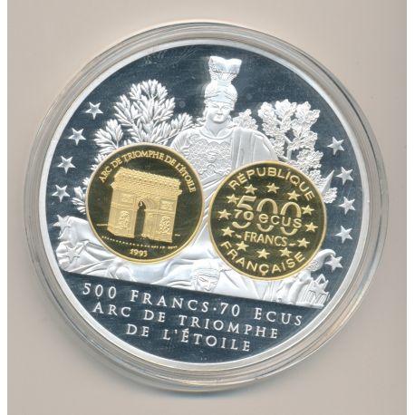 Médaille - 500 Francs/70 Écus Arc de triomphe - Adieu au Franc - 70mm