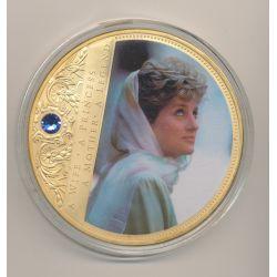 Médaille 70mm - Collection Lady Diana N°1 - portrait d'une princesse - avec insert Swarovski