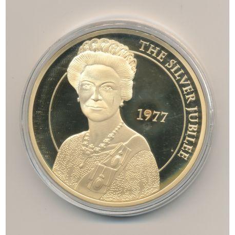 Médaille 50mm - Elisabeth II - The Silver jubilee - cuivre doré