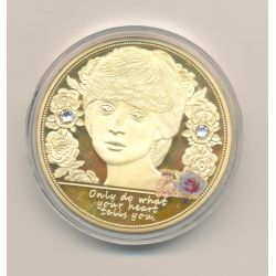 Médaille 40mm - Lady Diana - Only do what you heart tells you - cuivre doré