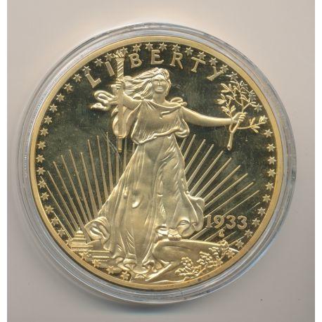 Médaille 100mm - Reproduction 20 Dollars Liberty 1933 - cuivre doré