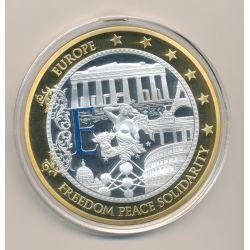 Médaille 70mm - Euro géant - Freedom peace solidarité - cuivre doré
