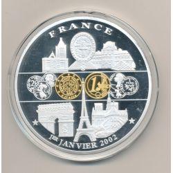 Médaille 70mm - Euro géant - 1er janvier 2002 - cuivre doré