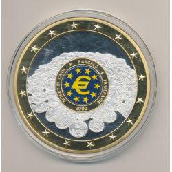 Médaille 70mm - Euro géant - numéraire 2002 - cuivre argenté et doré