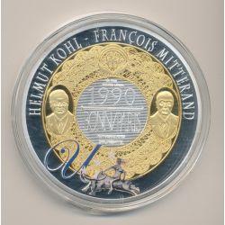 Médaille 70mm - Euro géant - Helmut Kohl et François Mitterand - cuivre argenté et doré