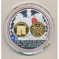 Médaille - 500 Francs/70 Écus Arc de triomphe - bleu blanc rouge - Adieu au Franc - 70mm