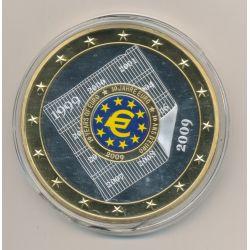 Médaille 70mm - Euro géant - 10 ans euro - cuivre argenté et doré