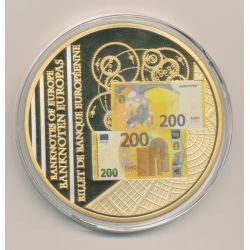 Médaille 70mm - Billet 200 Euro - Europa - cuivre doré