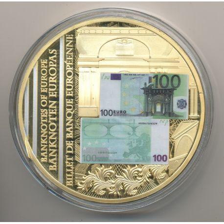Médaille - Billet de banque Européenne - 100 Euro - couleur - 70mm