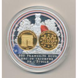 Médaille - 500 Francs/70 Écus Arc de triomphe - Adieu au Franc - 70mm - Bleu blanc rouge