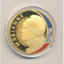 Médaille - Marianne - Les Emblèmes Français - cuivre doré et coloré - 40mm
