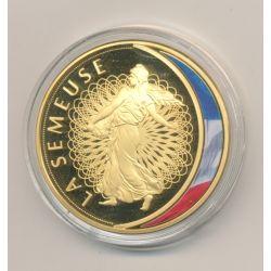 Médaille - La Semeuse - Les Emblèmes Français - cuivre doré et coloré - 40mm