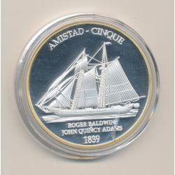Médaille - Amistad - Roger Baldwin - John Quincy Adams - 40mm - cuivre argenté