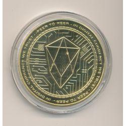 Médaille - Crypto monnaie EOS diamant - doré