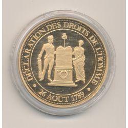 Médaille - Déclaration des droits de l'homme - 26 aout 1789 - Révolution Française - 1789-1799 - cuivre doré - 41mm