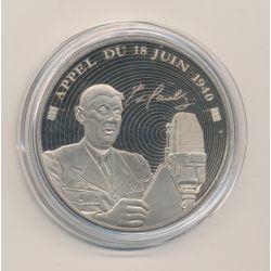 Médaille - Appel du 18 juin 1940 - De Gaulle - 5e République - nickel - 40mm