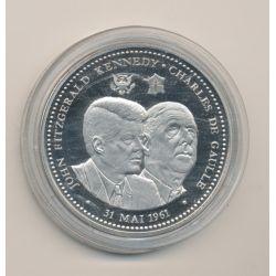 Médaille - Kennedy et De Gaulle - 31 mai 1961 - 5e République - nickel - 40mm