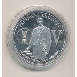 Médaille - Président De Gaulle - 5e République - nickel - 40mm