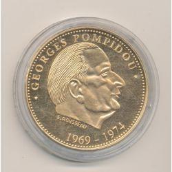 Médaille - Georges Pompidou - Président de la République - nickel doré - 41mm