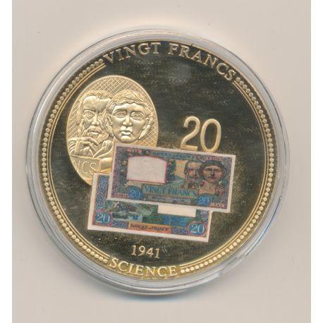 Médaille - 20 Francs Science et travail - Anciens francs - cuivre doré - 50mm