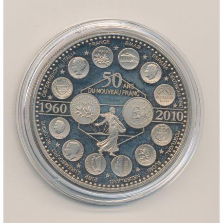 """Médaille - 50 ans nouveau franc - 2010 essai - L""""europe des XXVII - nickel - 41mm"""