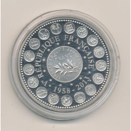 "Médaille - Franc Semeuse 1958-2013 - 2013 essai - L""europe des XXVII - nickel - 41mm"