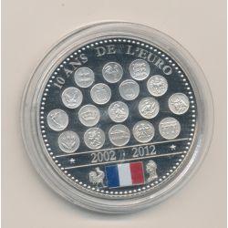 """Médaille - 10 ans de l'euro - 2012 essai - L""""europe des XXVII - nickel - 41mm"""