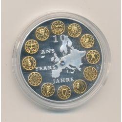 Médaille - 10 ans Euro - insert Swarovski - 2012 - cuivre argenté