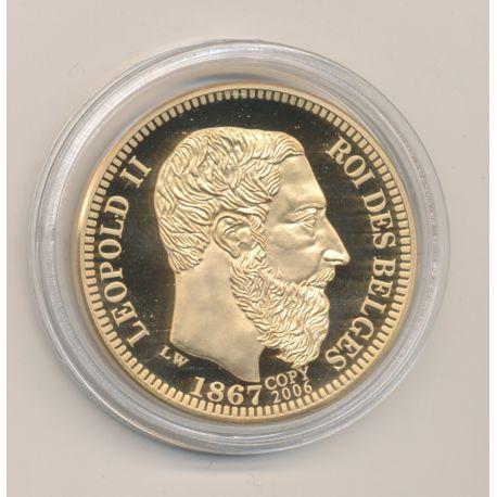 Médaille - Léopold II - Refrappe 10 Francs 1867 - cuivre doré - 40mm