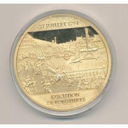 Médaille - Éxécution de Robespierre - 225 ans Révolution Française -  cuivre doré avec insert Swarovski -