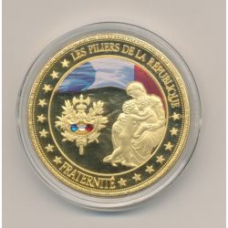 Médaille - Fraternité - Les Piliers de la république - couleur et insert swarovski - 40mm