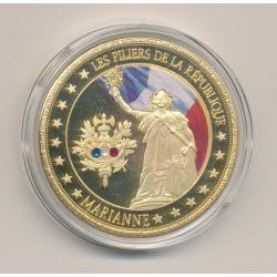 Médaille - Marianne - Les Piliers de la république - couleur et insert swarovski - 40mm