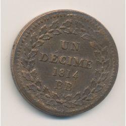 Napoléon Empereur - 10 Centimes - 1814 sans points