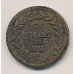 Napoléon Empereur - 1 Décime - 1814 - 2 points