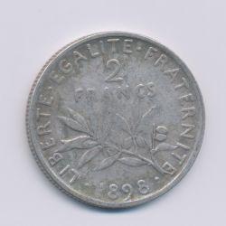 2 Francs Semeuse - 1898 - argent - TB/TTB