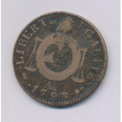 1 Sol aux balances - 1793 AA Metz - cuivre - TB