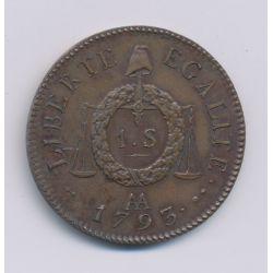 1 Sol aux balances - 1793 AA Metz - cuivre - SPL - refrappe