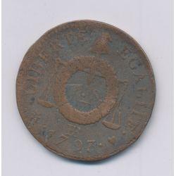 1 Sol aux balances - 1793 BB Strasbourg - cuivre - B+