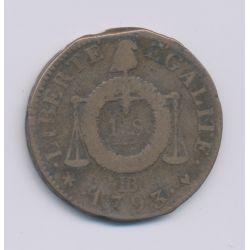 1 Sol aux balances - 1793 BB Strasbourg - cuivre - TB+