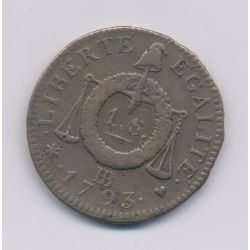 1 Sol aux balances - 1793 BB Strasbourg - cuivre - TB+/TTB