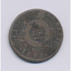 1 Sol aux balances - 1793 D. Dijon - cuivre - TB/TB+