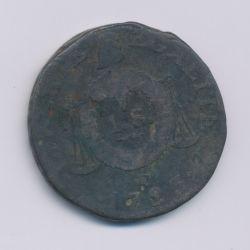 1 Sol aux balances - 1793 D Lyon - cuivre - B