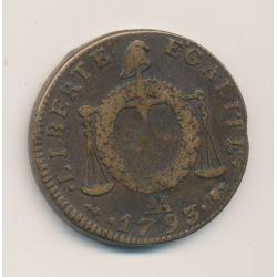 2 Sols à la balance - 1793 AA Metz - Cuivre - TTB/TTB+