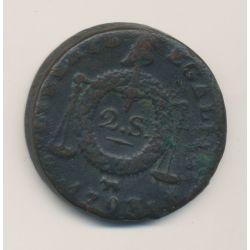 2 Sols à la balance - 1793 Pau - Métal de cloche - TB+/TTB
