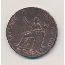 Monneron 2 Sols à la liberté assise - 1791 - AN 3 - TTB